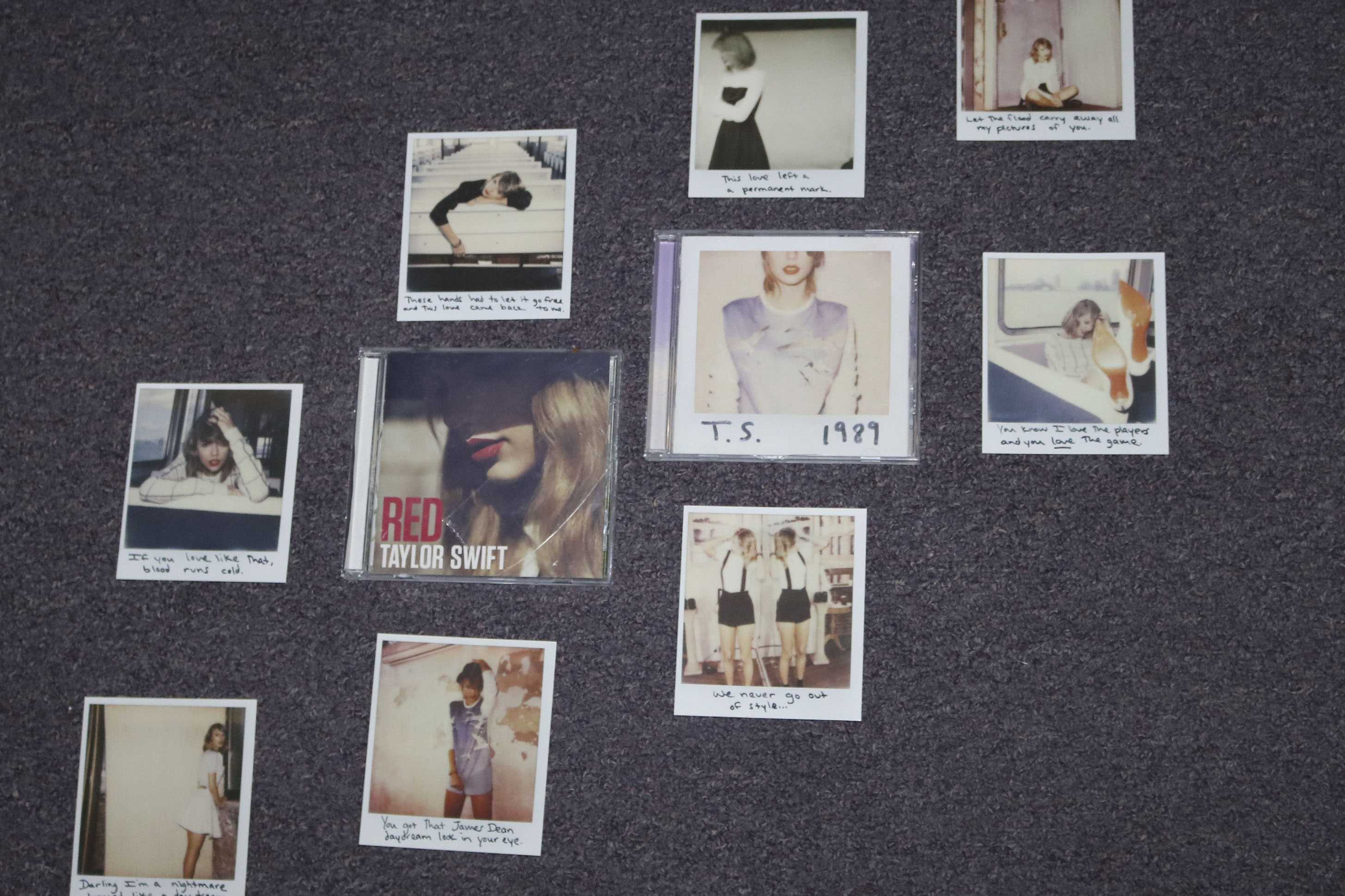 "LISTEN - Pictures of Taylor Swift surround her two most recent albums: Red and 1989. ""I like her music, old and new. She has been slacking with music but she just came off a huge tour, so I understand why she is taking a break,"" junior Kyle Eckley said. ""Hopefully she comes back soon with some good music."""