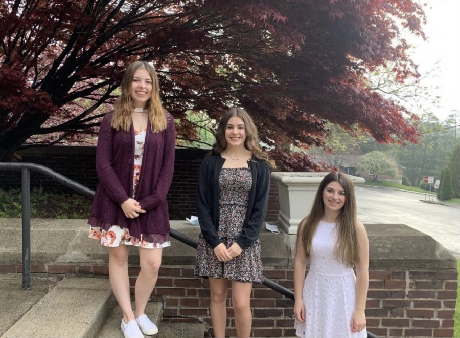 """Sophomores Zoe Holden, Gwen Biddle, and Chloe Heintz stand proud outside of the auditorium steps. All three of them were the winners of the Hugh O' Brien scholarship. The sophomore class of 2023 had the opportunity to participate and win the Hugh O'Brien Youth Leadership Award. """"The Hugh O'Brien scholarship is a event taking place in June to better students leadership skills also to get them more community opportunities. Sophomores in high school get to go and represent their school and better their knowledge of what a leader is,"""" said Zoe Holden."""