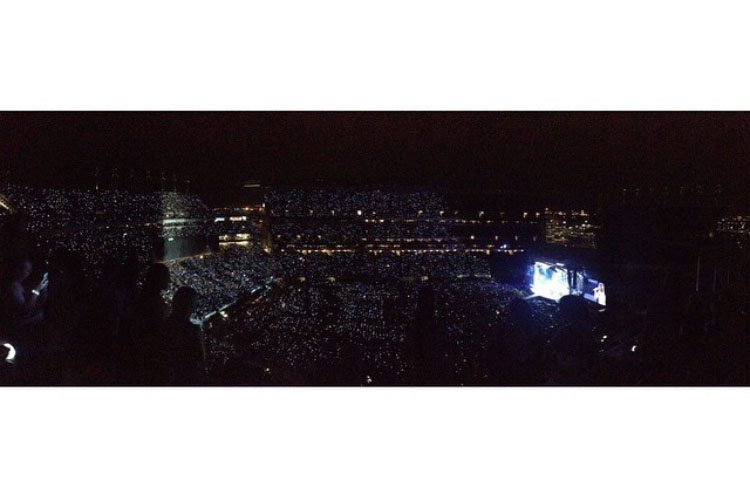 """During a Taylor Swift concert June 15, 2015, thousands of fans flash their phone lights to illuminate Lincoln Financial Field in Philadelphia. Swift performed her 1989 tour three years ago and will be performing her Reputation tour starting this summer. """"I want to see Taylor Swift in concert this summer because she is a very inspiring person,"""" junior Samantha Day said."""