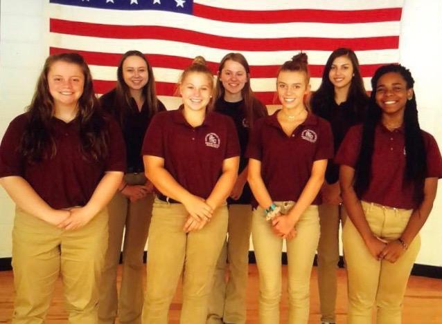 First Row: Sophia Bates, Schuyler Ossman, Christina Cook, Blessyn Marcelle; Second Row: Hannah Reiter, Courtney Greblick, Lauren Lukacz