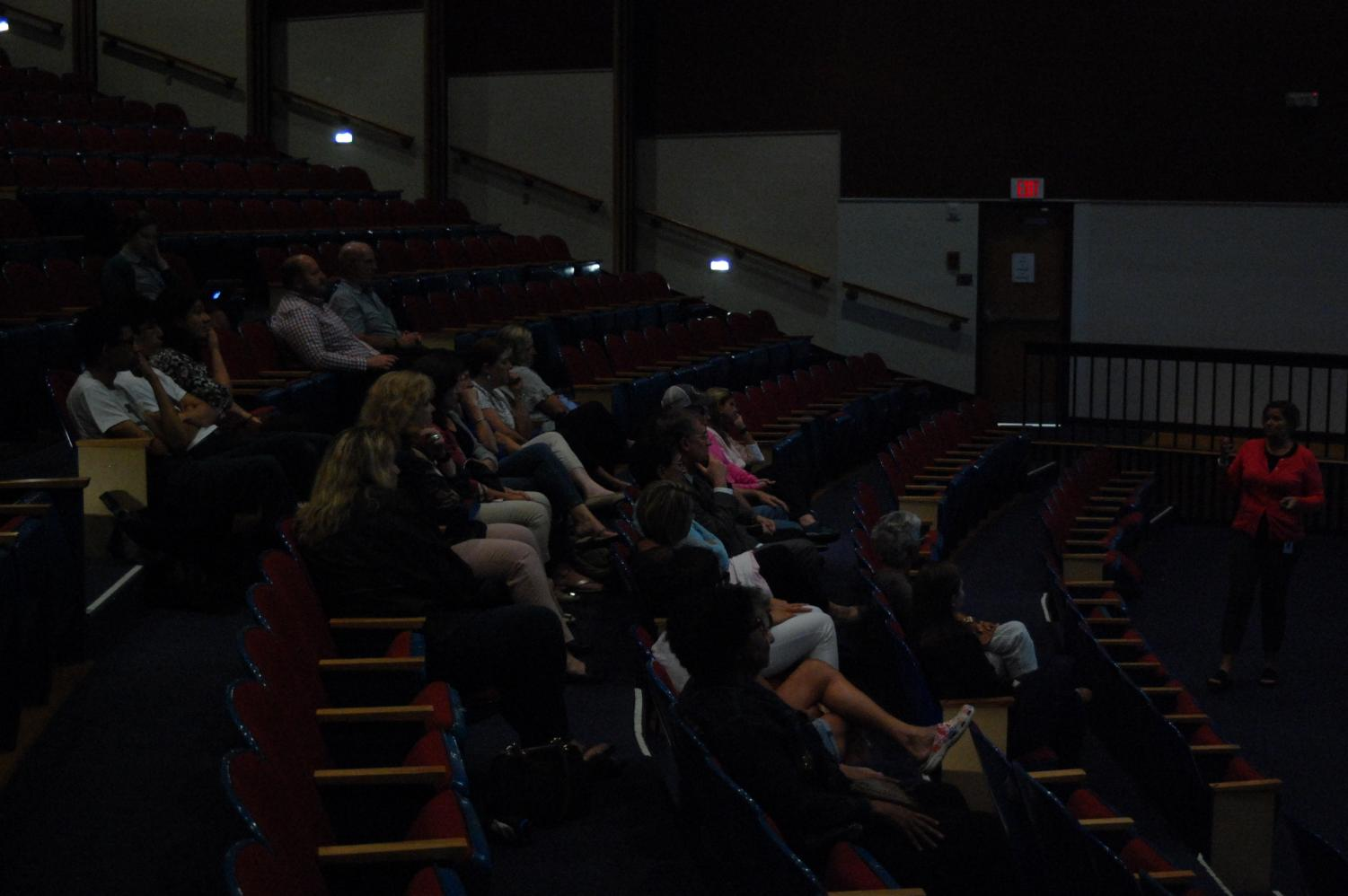 """Parents pay close attention to the Caron Foundation presentation in the D.H.H. Lengel auditorium. The presentation focused on the dangers of substance abuse. """"It was nice to see a variety of people from the community attend,"""
