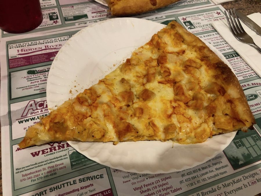 A fresh slice of Palermo's buffalo chicken pizza