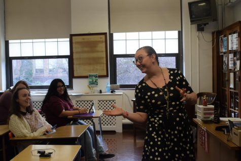 "Mrs. Kayla Watt, Government teacher, teaches her class. Mrs. Watt teaches Economics, American Government and AP Government. ""Political socialization is absolutely a thing, meaning that parents do have an affect on their child's political beliefs,"" Mrs. Watt said."