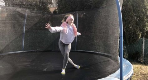 "Sophomore Greta Snukis is attempting to do tricks on her trampoline while blindfolded. The film ""Bird Box"" was released on December 21, 2018, and made some people attempt to do things blindfolded in something called the ""Bird Box Challenge."" Greta said, ""I wanted to do the Bird Box gymnastics challenge because it looked silly and I love my trampoline."""
