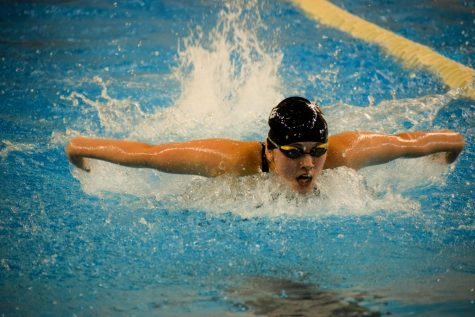 Freshman Taleah Ruben swims the 100 butterfly during the Schuylkill League Championship.