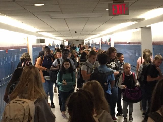 "Students walk down the halls in the DHH Lengel Middle School. Soon posters warning students about Juuling and vaping will be hung in these hallways. ""Juuling and Vaping have not been around long enough for us to know how harmful they may be,"" said Ms. Alyssa Palina."