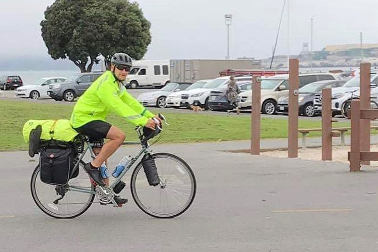 "John Matulevich is riding his bicycle from San Francisco to the Nevada/Utah border. He  started his ride at the Golden Gate Bridge. ""I decided to do this challenge based on my job as a performance coach combined with my own athletic background,"" said Matulevich."