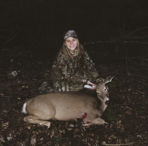 "Senior Madison Dalton shot her first deer of the deer archery season. Dalton has been hunting for several years and hoped for the coming seasons. ""My favorite part about hunting is sitting in the wilderness for hours and watching animals do their thing, in the wild-completely unaware of my presence. There is absolutely nothing cooler than that and I also love being able to spend quality time with my dad."""