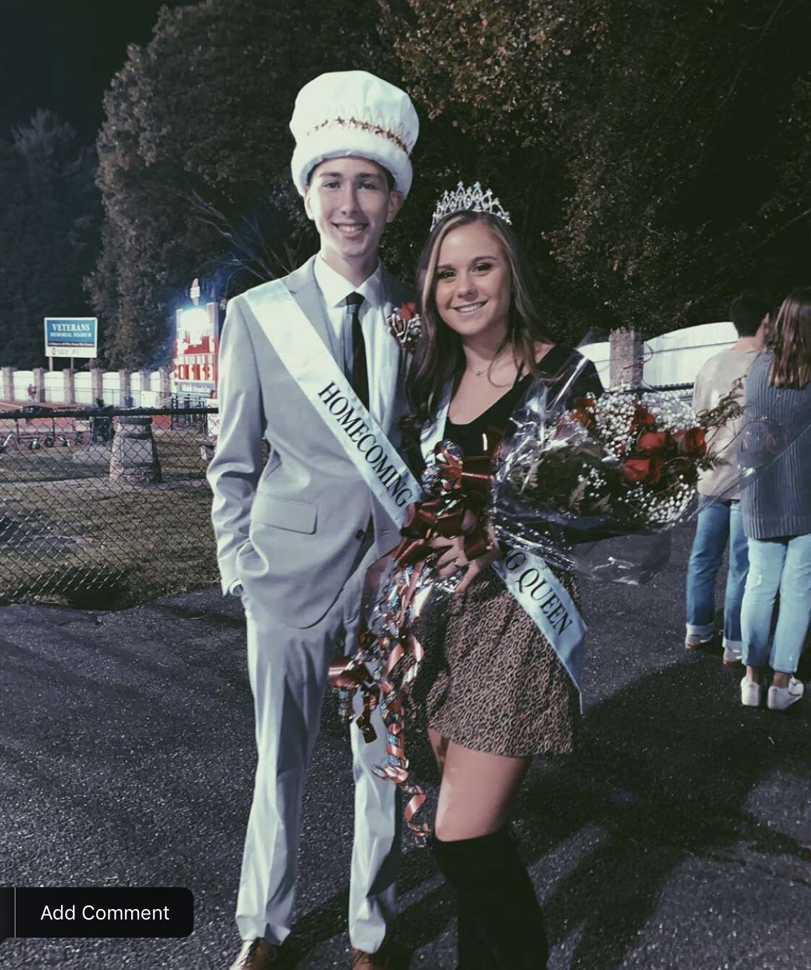 """Homecoming King, Owen Golden and Homecoming Queen, Madison Dalton stood together after being crowned. After being crowned, the two stand together in excitement, as they will become future role models of PAHS. """"I ran for homecoming king because I asked my friends if I should run and they said yes, you would win,"""" senior Golden said."""