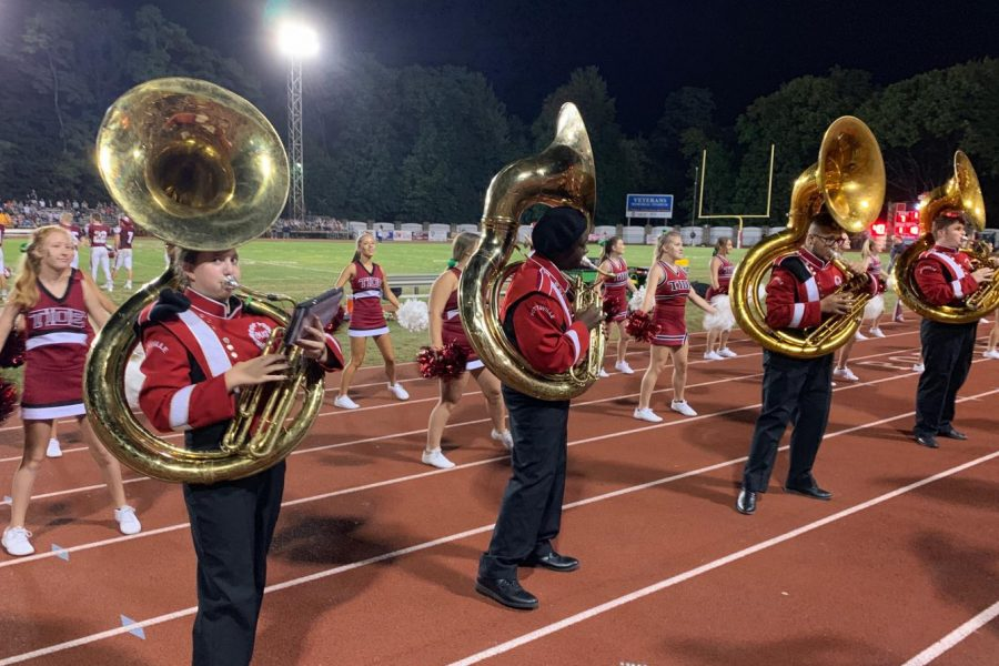 Seventh grader Jillian Horvath plays with the PAHS marching band during the home game against Wyomissing on August 30. Jillian plays the tuba for the band, and enjoys playing for the band due to the positive impact music has had on her life.