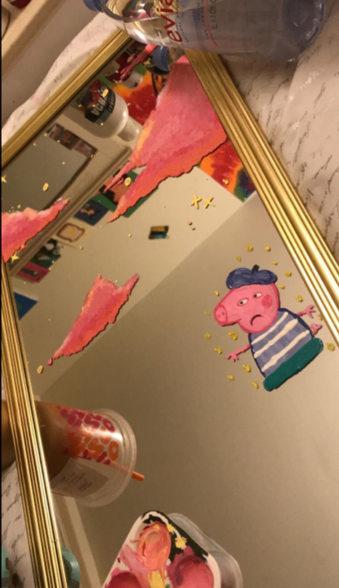 "The BBC show Peppa Pig is watched by a wide age range of viewers. Peppa Pig influenced student art in many different mediums too. Senior Tristen Clews said, ""This year at band camp we used chalk to draw out spots and everyone kept drawing Peppa Pig."""