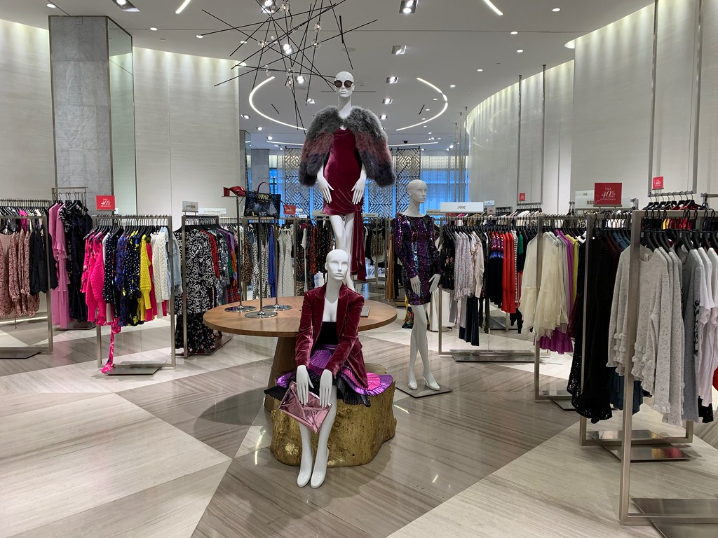 Saks Fifth Avenue is one of many stores open on Black Friday.  Pictured in the image, is a mannequin showing off an outfit that can be purchased on Black Friday.