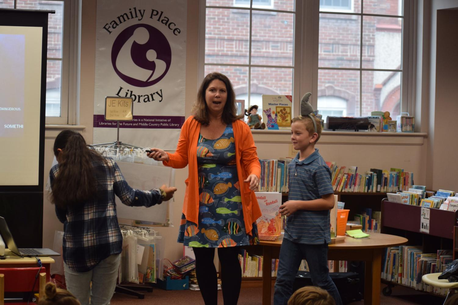 "Nadine Popper, a school librarian and author, engages with students from Mrs. Barr's class. Popper is the author of ""Randall and Randall"" which she read to the students. ""I enjoyed that the author let the kids participate in the program,"" said third grader Kennedy Holden."