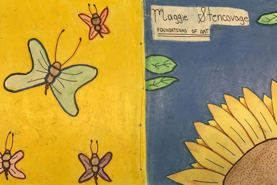Freshman Maggie Stencovage created a bright, floral design for her visual journal. Students in Miss Lindsey Boncore's art classes design and make the journals themselves.