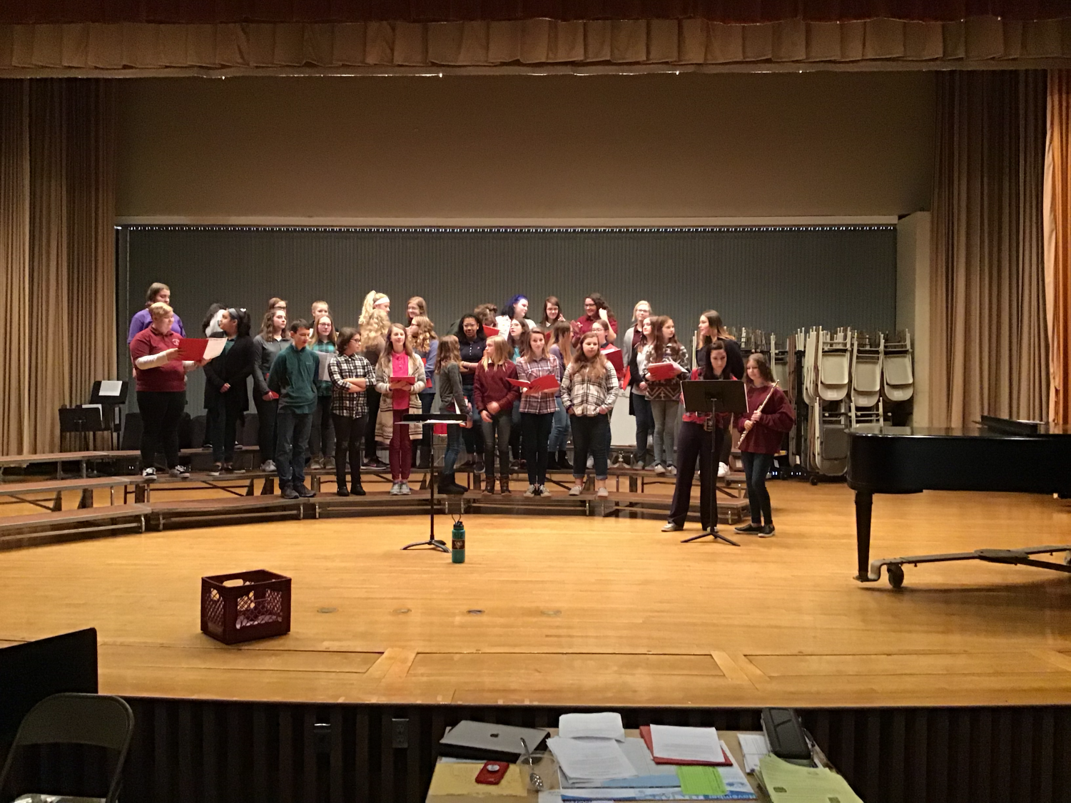 REHEARSE - The Tide Tones, an auditioned group of seventh and eighth grade vocalists, rehearse for their annual holiday concert. The concert was held on Sunday, December 8.