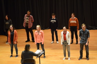 "Drama club students rehearse for their upcoming production of the ""Pirate Queen"". The first show date is on March 26 at 7:00pm. ""My favorite part of drama is the long-lasting friendships and memories I made,"" said junior Jake Montgomery."