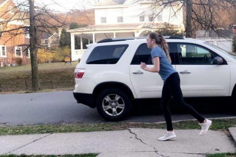 Freshman Madison Wright is running through her neighborhood to stay fit and active.