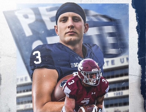 """In the picture above, Bobby Walchak is seen in a Penn State and Pottsville uniform. Bobby's family believes that he'll do great the upcoming football season for Penn State. """"I am ecstatic over Bobby being offered to play football for what I believe is one of the top college football teams in the country. It shows that hard work pays off. I believe Bobby will represent his family and Pottsville well. We are proud beyond words. I think Bobby has a gift to play football, I have seen it at a young age and how he developed over time confirms my belief in his talent. Bobby will continue to work hard, and it will only be a matter of time until the coaches at PSU will reward his hard work with an opportunity to get on the field and do what he does, which is making game changing plays,"""" said Bobby's father, Bob Walchak."""