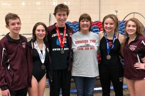 "(From left to right, Nathan Colna, Emma Smith, Owen Golden, Debra Logothetides, Greta Snukis, and Lauren Klinger) This photo was taken at the 2019-2020 Schuylkill League Championships. Greta Snukis, Emma Smith and Owen Golden all medaled at this meet. Senior diver Greta Snukis said, ""This year I was looking forward to Leagues because I wanted to reclaim my title. I was hoping for a 2peat. I do not agree with the fact that it couldn't be rescheduled. I was hoping to improve my score and reach 400 with my 11 dives. I also wanted to improve my degree of difficulty and throw harder dives."