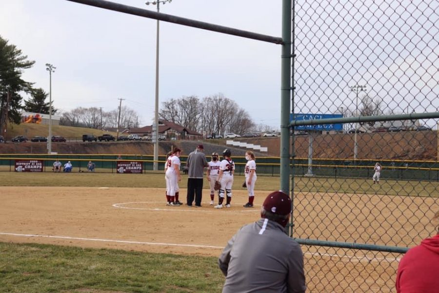 "The Pottsville girls softball team calls a time out during their scrimmage against Williams Valley on Monday at Pottsville. Even though the girls were coming back in the last two innings they unfortunately lost scoring 8-5. ""Although we did not have all of our girls because of COVID-19 I believe we did a great job at the scrimmage,"" said freshman Ava Bowers."