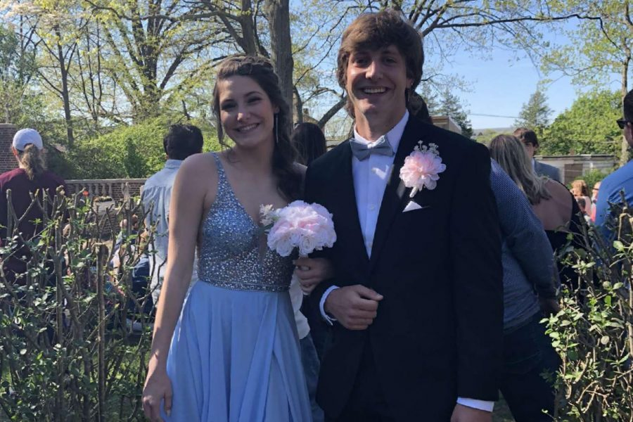 """Junior Jadyn Wagner and senior Bobby Walchak enjoy their day at the promenade. On Saturday, May 1st, seniors and their dates danced the night away at St. Nicholas Hall. """"Prom was sincerely a great memory that I wI'll never forget."""""""