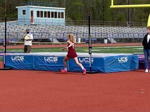 JUMP - 8th grader Camille Quirin-Morris participates in the high jump during a junior high track meet during the 2021 season.