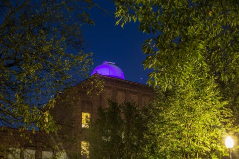 """PAHS planetarium illuminated in purple during the month of September. The lights represent our support to the victims of suicidal thoughts. """"At first I didn't know why the lights were on. Then I saw the courthouse too and heard about it on the announcements"""", said Junior Macy Matlock."""